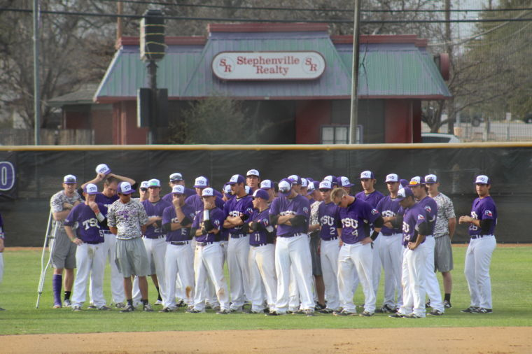 The baseball team accepts their loss after the game against West Texas A&M University.