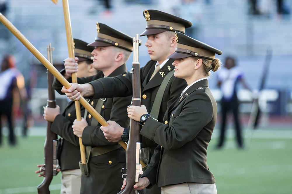 Tarleton ROTC presenting the colors.