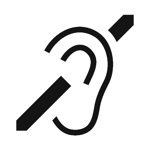 The universal sign for hearing impairment.