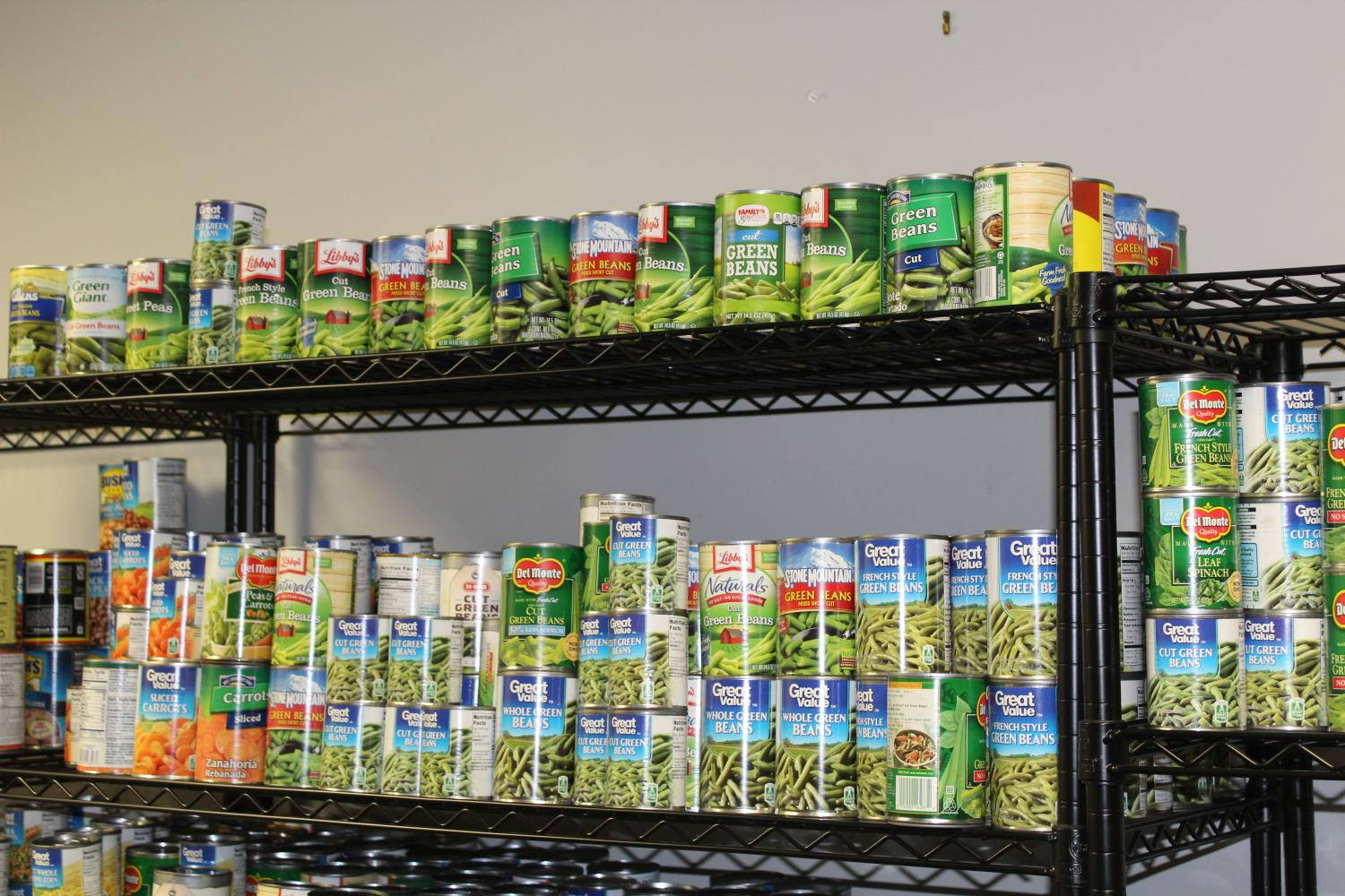 Canned goods available for students in need.