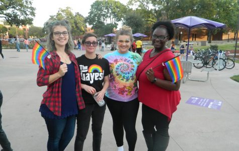 Tarleton students supporting LGBTQ at the rally. From left to right Christina Morrow, Shandi Hahn, Brittni Franz, and Ebonie Stewart.