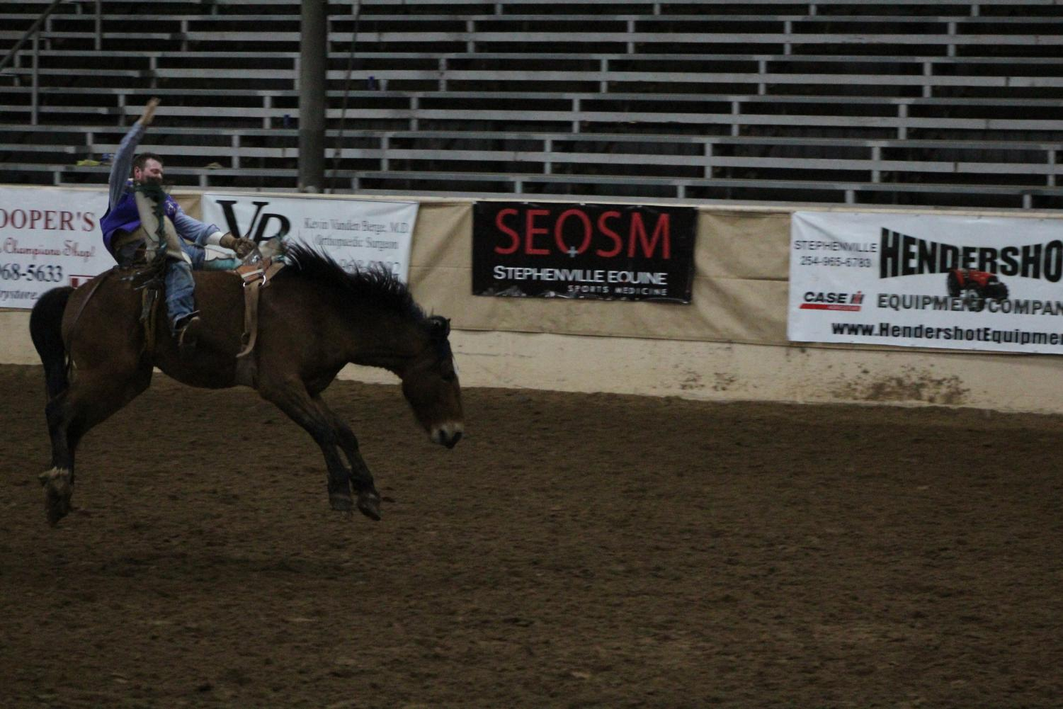 Bodee Lammers rides in the bareback riding event at the Tarleton stampede.