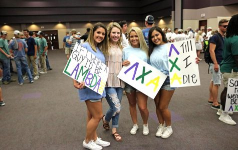 Cherrica Nolan, Taylor Kimbrell, Taylor Medlin and Allison Everidge showed up to support the mean of Lambda Chi Alphas on Bid Day.