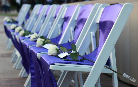 Chairs remain empty at Silver Taps to honor fallen Tarleton Family members.