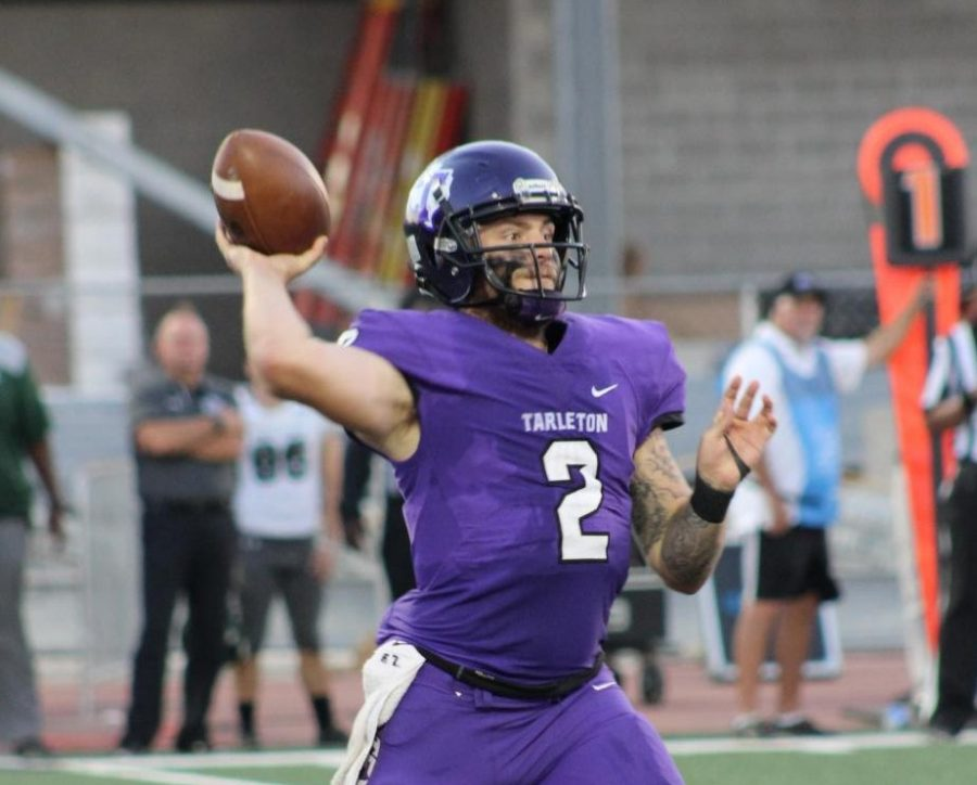 Quarterback, Ben Holmes, gets ready to throw a pass to one of his teammates during the game against Delta State on Aug. 30, 2018 in Memorial Stadium.