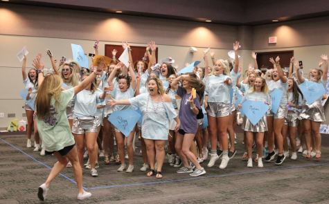Delta Zeta Sorority cheers for Shelby Ford who just accepted her bid into the sorority.