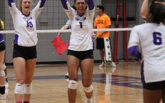 TexAnn's Elizabeth Muliaga cheer's after successfully scoring against Western New Mexico on Oct. 6 in Wisdom Gym.