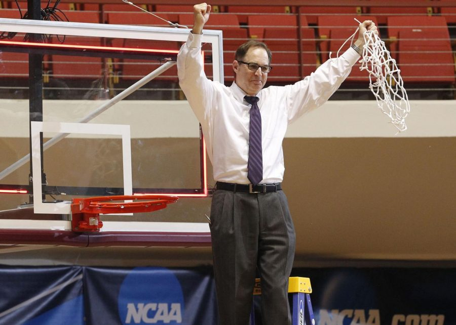 Lonn Reisman celebrates a 77-72 win against Angelo State University in the 2016 NCAA Division II South Central Regional in Wichita Falls, Texas.