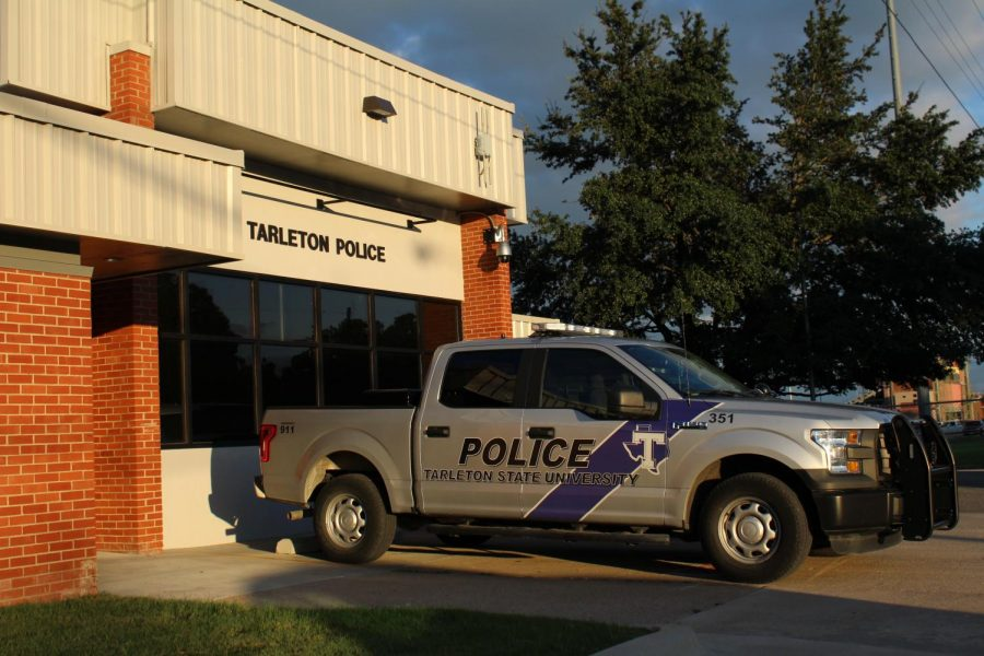 A Tarleton Police truck outside of the Tarleton Police Station located on the corner of N Harbin Dr. and W Frey St.