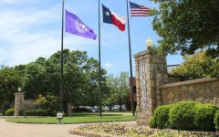 The flags in front of Tarleton State University located off of West Washington Street.
