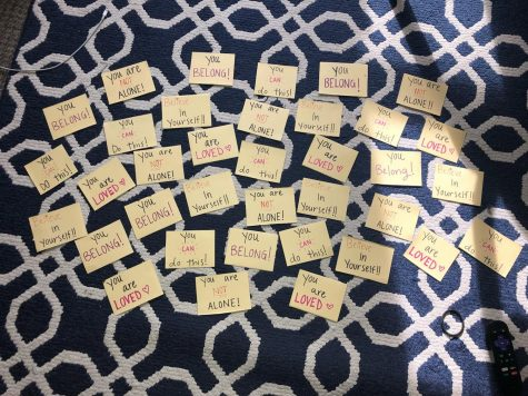 A series of positive post-it notes written by RL Jenna Whitmire for her residnece at Heritage.