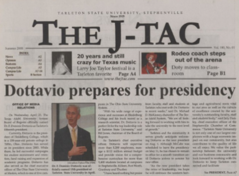 The summer 2008 issue of The JTAC where Dr. F. Dominic Dottavio gets ready to become president of Tarleton State University.