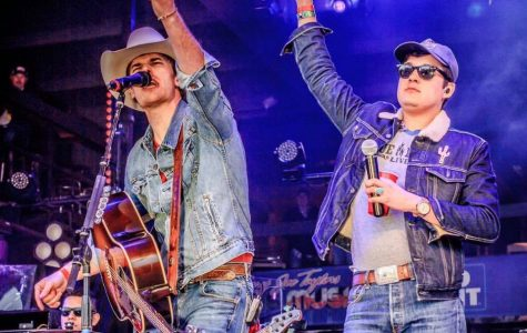 Randall King (left) with Cleto Cordero (right) on the Bud Light stage at Larry Joe Taylor's Texas Music Fest in 2018.