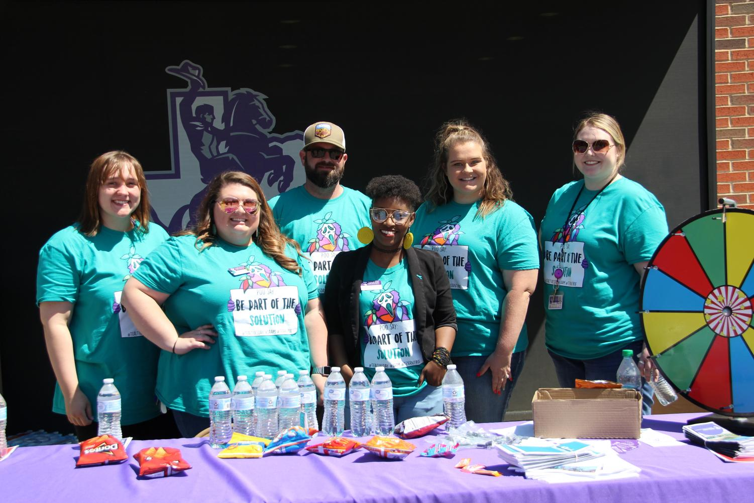 Tarleton counseling services has a table at the Sexual Assualt Aweness Month kickoff event.