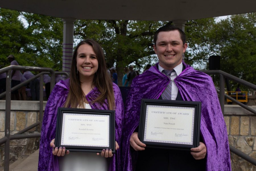 Juniors, Nathan Powell and Kendall Kozney were awarded the 2019 Mr. and Ms. TSU at the annual Grassburr Fest.