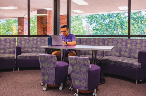 Elijah Perry Imbong studying on the second floor of the Student Center.