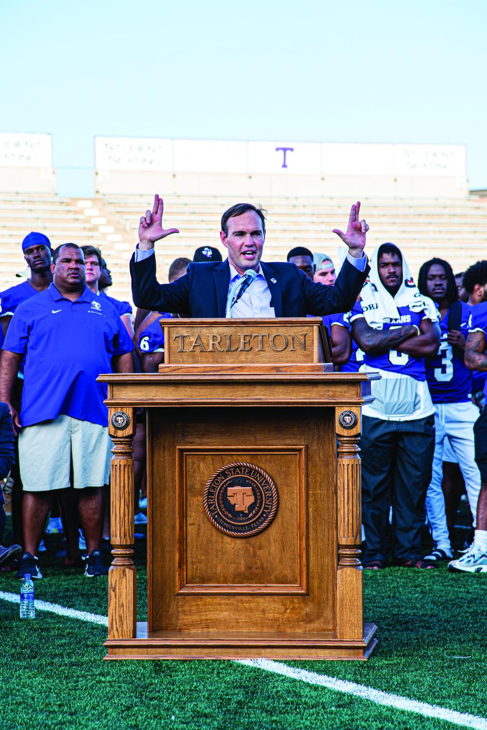 Dr. Hurley shows his Tarleton spirit during his address at grand opening of the Lonn Reisman Athletic Center at Memorial Stadium on Tuesday, August 20.