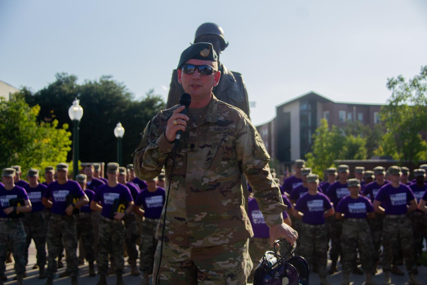 Tarleton ROTC listens while the Lieutenant Colonel Lee H. Evans gives a speech at Point-du-Hoc during T-week.