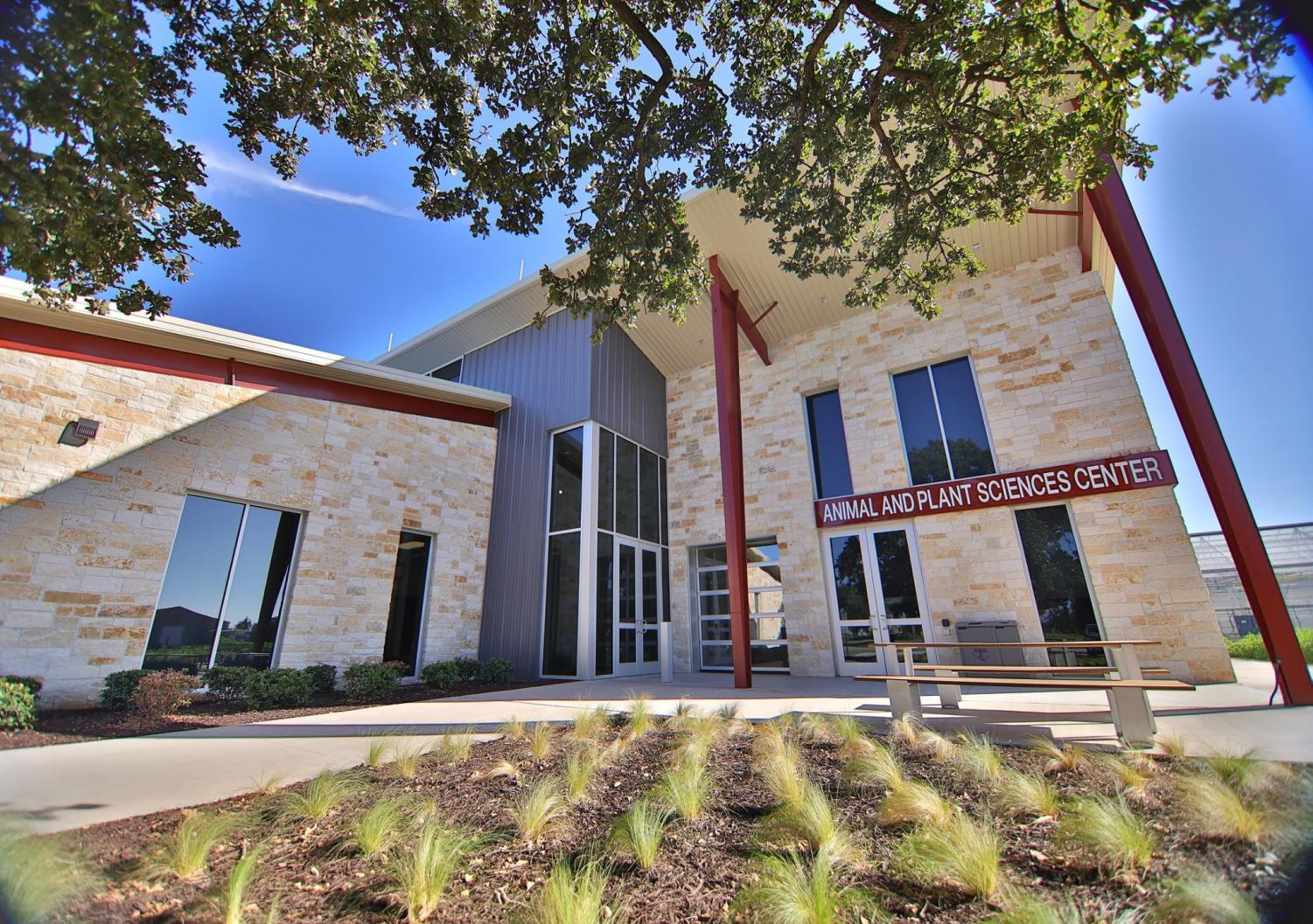 The new Animal and Plant Sciences Center located at the Tarleton farm. The Animal Science side has an open sided learning room where students can study animals to encourage more hands-on learning, and it also has many animal science labs. The Plant Sciences side has horticulture rooms, labs and 4 green houses.