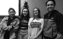 Members of Philosophy Club Narda Roman, Emily Moore, Kiley Kocian and Christian Botello. Each meeting the talk about the five branches of philosophy through educational discussions, presentations, group activities and guest speakers.
