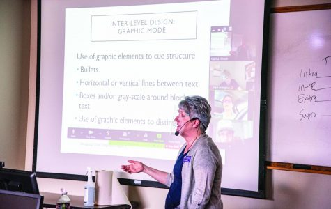 Dr. Katrina Hinson teaches Graphic and Technical Writing in the Face-to-Face and Online Asynchronous. This specific class has 17 students, only three attend in person while the rest watch from Zoom.