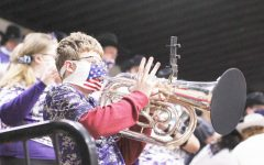 Chance Worthington playing the euphonium at midnight madness on Oct. 28 2020.