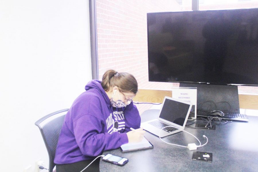 Allison Dycus knocking out homework in the lower level of the library on Jan. 22, 2021.