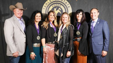 2019 Tarleton Rodeo Hall of Fame inductees Tessie Doyle, Jackie Hobbs-Crawford, Neelley Armes and Sarah Scott Verhelst with Coach Mark Eakin and President Dr. James Hurley.