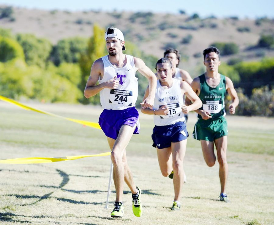 Michael Simcho running in the 2019 Lone Star Conference Cross Country Championship in Silver City, NM.