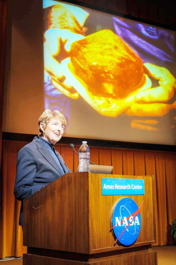 Tarleton Alumna, Millie Hughes-Fulford, speaking at NASA about vaccines in space.