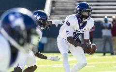 Tarleton quarterback Cameron Burston (10) at the NM. State game on Feb. 21, 2021