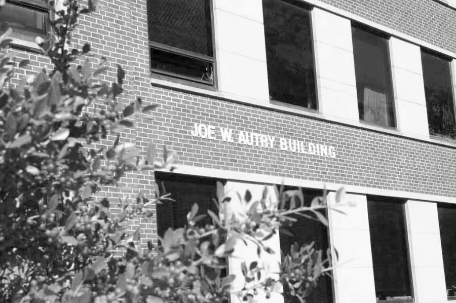 The Joe W. Autry building is located across from the Dick Smith Library.