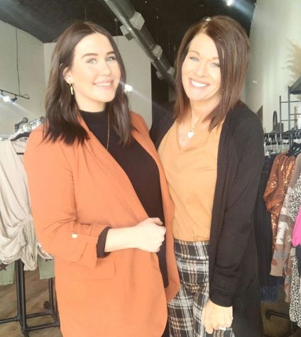 Owner, Cynthia Huckabee, and co-owner, Kali Osinga, showing off a few pieces from the Silver Wings Thanksgiving collection on Nov. 14, 2020.