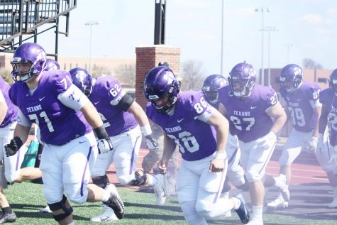 Tarleton Texans make an explosive entrance into their game against Mississippi College.