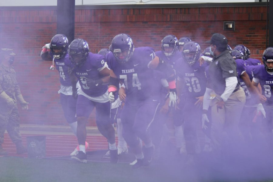 Tarleton Football players making their entrance into Memorial Stadium for the game on March 6, 2021.