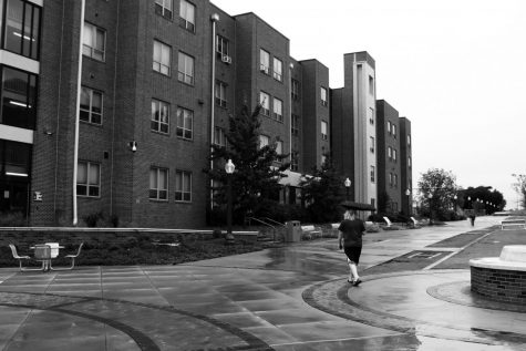 Honors dorm, pictured from Rudder Way before being hit by the giant creampuff.