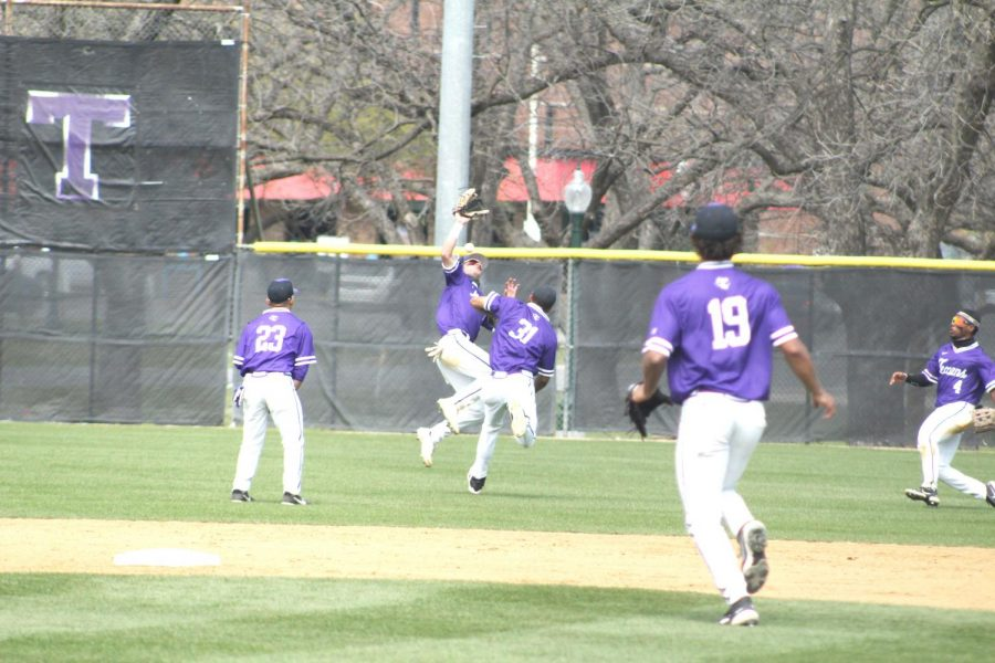 Tarleton+outfielder+Wade+Raburn+getting+hit+in+the+face+by+a+ball+on+April+2%2C+2021+during+the+game+against+Dixie+State+during+a+collision+with+infielder+Kemuel+Thomas-Rivera.