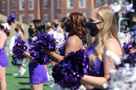 Texan Stars cheering on the Texans at the Tarleton family weekend football game on March 6, 2021. The game ended in a Texan win over Mississippi College.