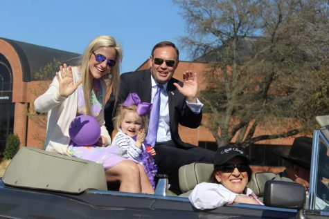 President, Dr. James Hurley with first lady Kindall Hurley and his daughter, Blayklee Hurley in the Homecoming parade on March 20, 2021.
