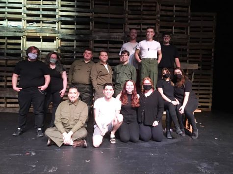 Biloxi Blues cast and production members prepare for the show on opening day.