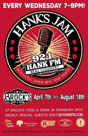 Hanks Jam is currently being hosted at Brocks Food and Drink in Granbury until August 18, 2021.