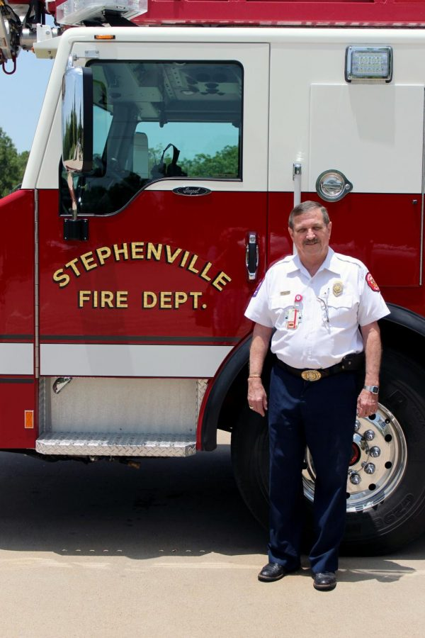 Stephenville Fire Department's retiring Fire Chief, Jimmy Chew, with truck number 336.