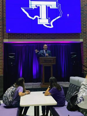 Tarleton President, Dr. James Hurley announcing the proposal of a parking structure to the Tarleton Student Body.